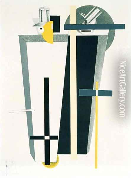 Abstract composition in grey, yellow and black Oil Painting - Eliezer Markowich Lissitzky