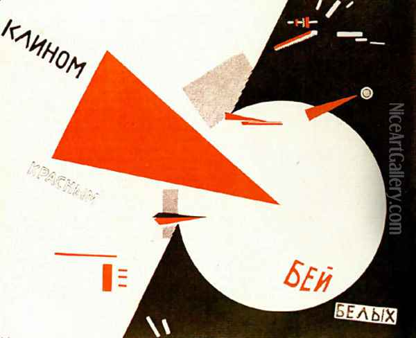 Beat the Whites with the Red Wedge Oil Painting - Eliezer Markowich Lissitzky