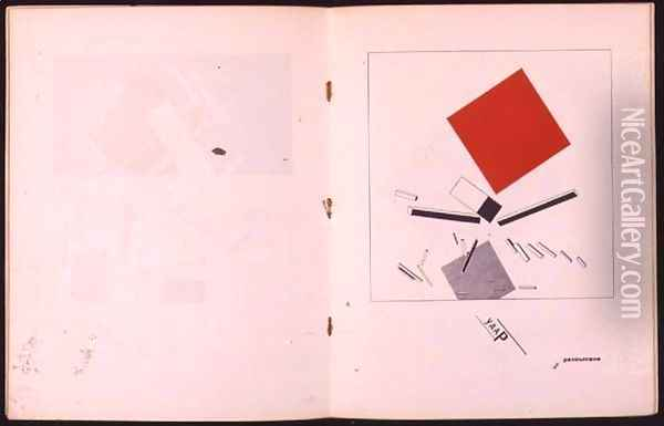 `Of Two Squares`-1920, 1922 Oil Painting - Eliezer Markowich Lissitzky