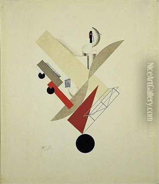 Globetrotter in Time Oil Painting - Eliezer Markowich Lissitzky