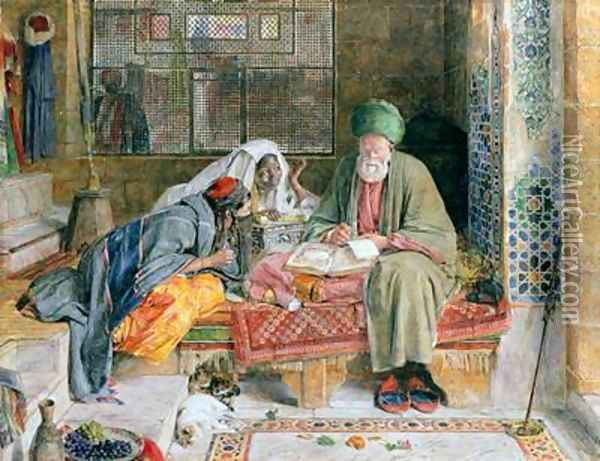 The Arab Scribe Cairo 2 Oil Painting - John Frederick Lewis