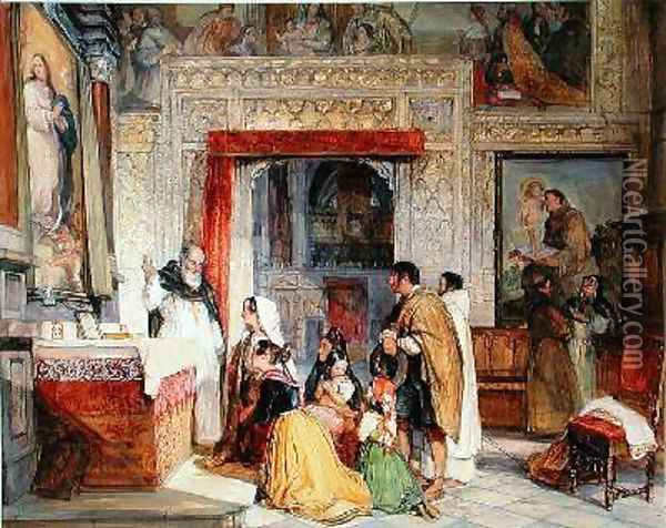 The Sacristy of Toledo Cathedral Oil Painting - John Frederick Lewis