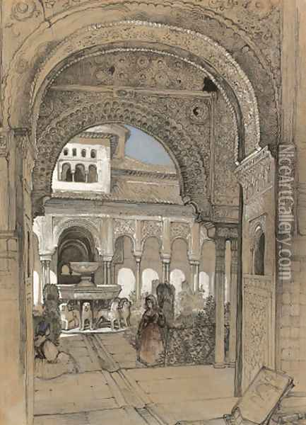 The Court of the Lions from the Hall of Justice, Granada Oil Painting - John Frederick Lewis