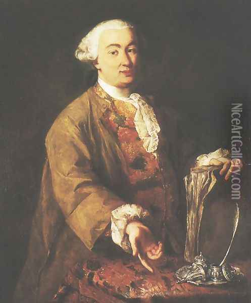 Portrait of Carlo Goldoni Oil Painting - Alessandro Longhi
