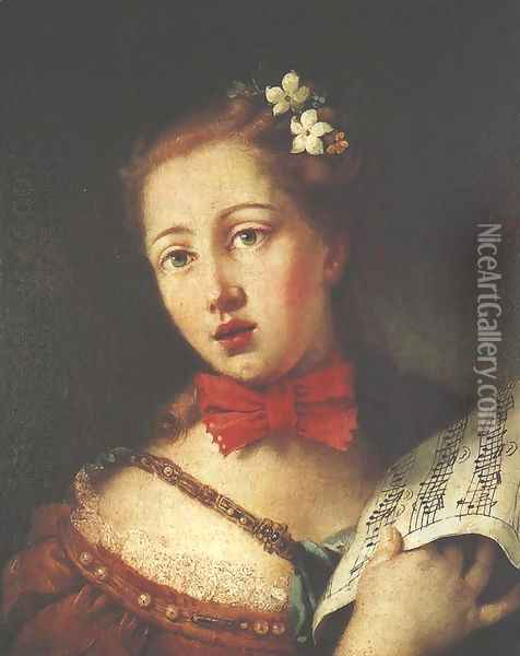 Portrait of a Young Singer Oil Painting - Alessandro Longhi