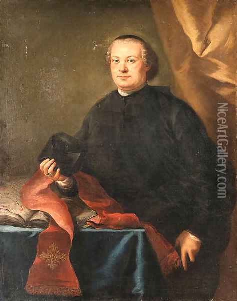 Portrait of a Prelate, three-quarter length, in a black cassock, holding a biretta, by a table in a draped interior Oil Painting - Alessandro Longhi