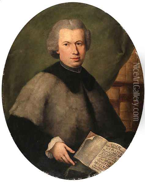 Portrait of Monsignor Francesco Dall'Acqua, half length, wearing a grey cloak and holding a copy of his book, in a library Oil Painting - Alessandro Longhi