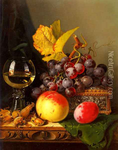 A Still Life of Black Grapes, a Peach, a Plum, Hazelnuts, a Metal Casket and a Wine Glass on a Carved Wooden Ledge Oil Painting - Edward Ladell