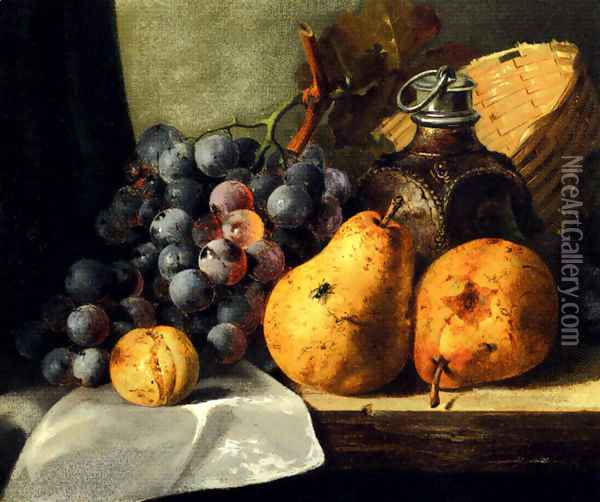 Pears, Grapes, A Greengage, Plums A Stoneware Flask And A Wicker Basket On A Wooden Ledge Oil Painting - Edward Ladell