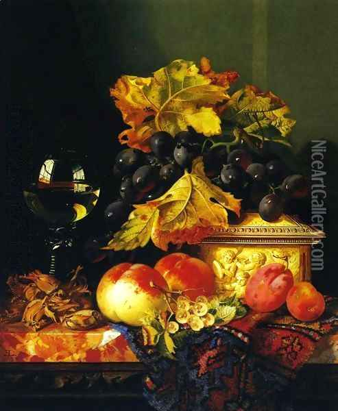 Black Grapes on a Carved Ivory Box, Peaches, Whitecurrants and Hazelnuts with a Hoch Glass on a Marble Ledge Oil Painting - Edward Ladell