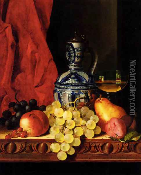 Still Life With Grapes, A Peach, Plums And A Pear On A Table With A Wine Glass And A Flask Oil Painting - Edward Ladell