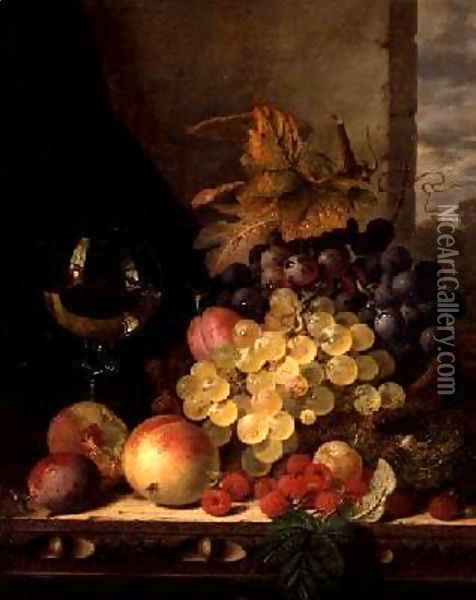 A Still Life with Grapes Raspberries and a Glass of Wine Oil Painting - Edward Ladell