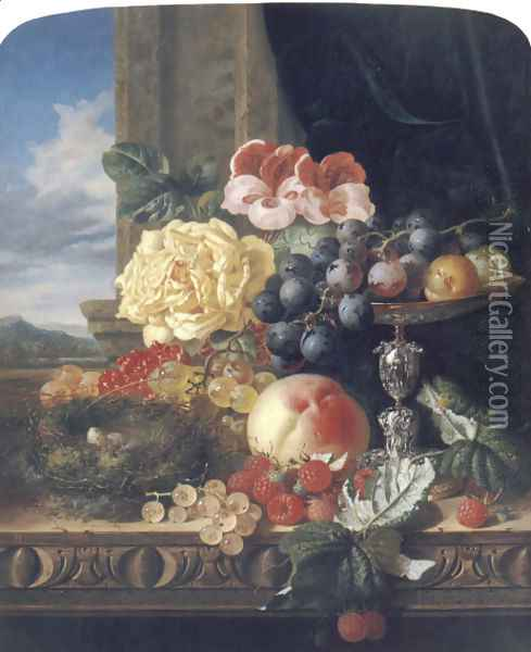 Still Life with Fruit, Flowers and a Bird's Nest Oil Painting - Edward Ladell