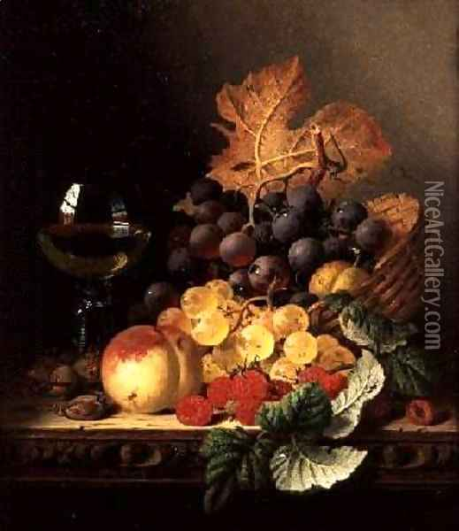 A Basket of Grapes Raspberries a Peach and A Wine Glass on a Table Oil Painting - Edward Ladell