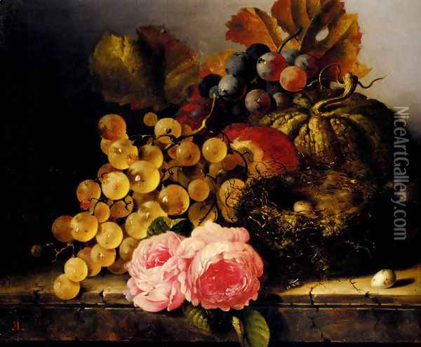 Still Life With A Birds Nest, Roses, A Melon And Grapes Oil Painting - Edward Ladell