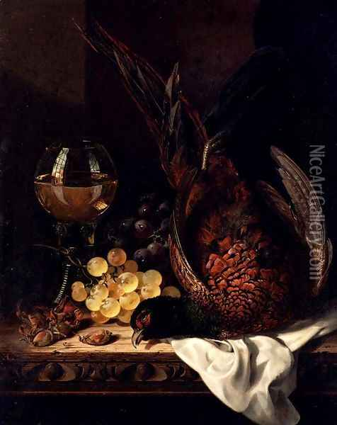Still Life with a Pheasant, Grapes, Hazelnuts and a Hock Glass on a wooden Ledge Oil Painting - Edward Ladell