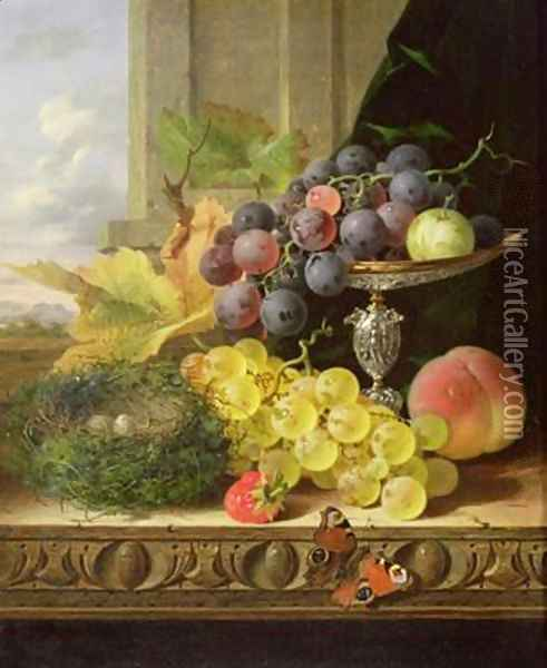 Still life of fruit a tazza and a birds nest Oil Painting - Edward Ladell