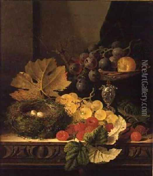A Still Life of a Birds Nest Grapes in a Silver Dish and other Fruit Oil Painting - Edward Ladell
