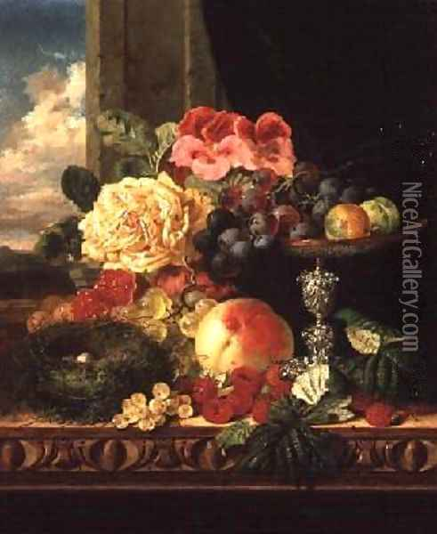 A Still Life of Fruit and Flowers Oil Painting - Edward Ladell