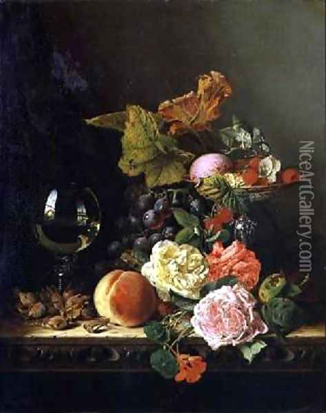 A Wine Glass Grapes Nuts and Roses on a Ledge Oil Painting - Edward Ladell