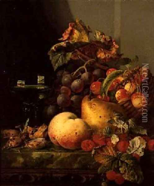 A Still Life of a Glass of Wine Cherries and other fruit on a Ledge Oil Painting - Edward Ladell