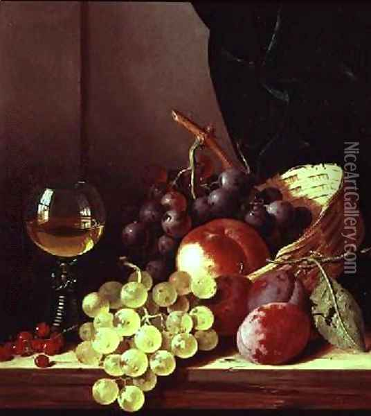 Grapes and plums Oil Painting - Edward Ladell