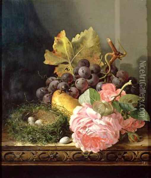 Still life roses fruit and birds nest Oil Painting - Edward Ladell