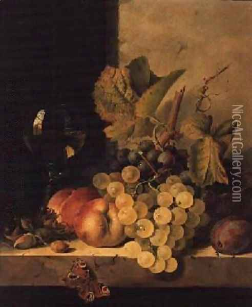 Grapes Peaches and a Wine Glass on a Ledge Oil Painting - Edward Ladell