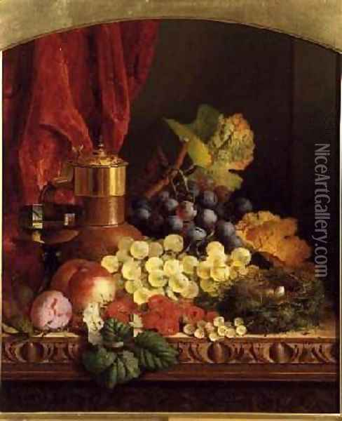 Grapes Peaches plums and other fruit Oil Painting - Edward Ladell