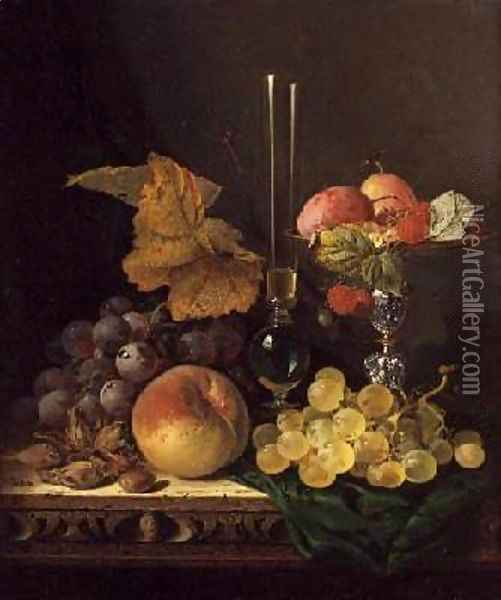 Still Life with Fruit and Nuts Oil Painting - Edward Ladell