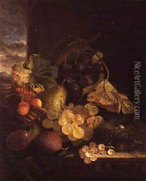 A Still Life with a Basket of Fruit and a Birds Nest on a Wooden Ledge Oil Painting - Edward Ladell