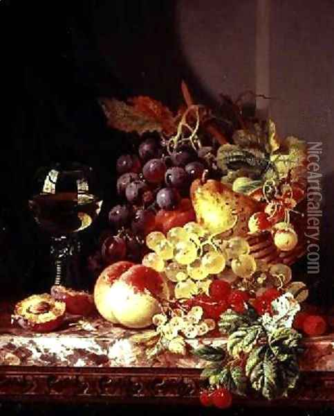 Still life with grapes and wine Oil Painting - Edward Ladell