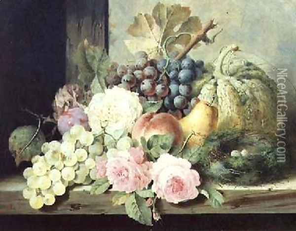 Still Life with Roses and Fruit Oil Painting - Edward Ladell