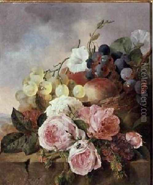 Still life of fruit and roses on a ledge Oil Painting - Edward Ladell
