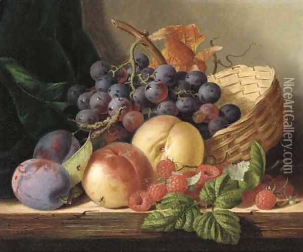 Grapes, peaches, raspberries, and plums with a basket on a wooden shelf Oil Painting - Edward Ladell