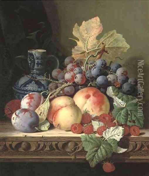 Plums, peaches, raspberries, grapes and a stoneware jug on a carved table Oil Painting - Edward Ladell