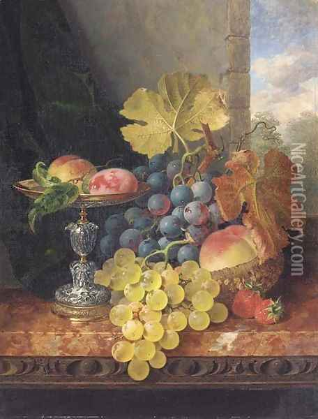 Still life with plums in a silver tazza, a peach, black and white grapes in a basket, and strawberries on a marble ledge Oil Painting - Edward Ladell