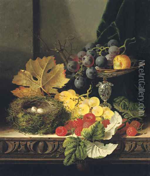 Still life with a bird's nest, black and white grapes, a greengage in a tazza, and some raspberries, on a wooden ledge Oil Painting - Edward Ladell