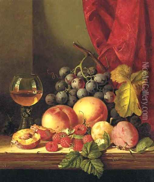 Still life with plums, peaches, black grapes, raspberries, and a roemer Oil Painting - Edward Ladell