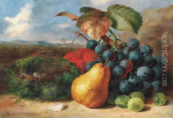 Gooseberries, a pear, a peach, grapes and a bird's nest, on a bank Oil Painting - Edward Ladell