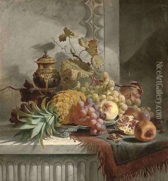 Pineapple, grapes, plums, pomegranate, peaches on a silver tray, on a marble ledge Oil Painting - Edward Ladell