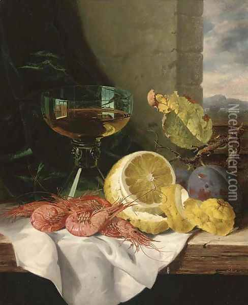 Plums, shrimps, a lemon and a glass of wine, on a wooden ledge Oil Painting - Edward Ladell