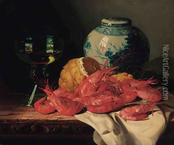 Shrimps, a peeled lemon, a glass of wine and a blue and white ginger jar, on a draped table Oil Painting - Edward Ladell