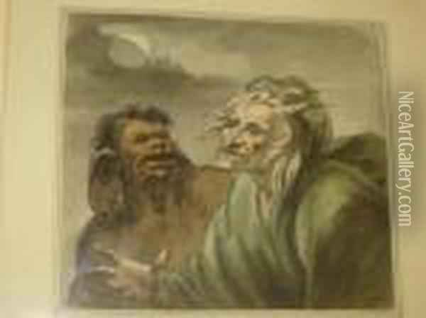 Two Figures By Moonlight Oil Painting - Honore Daumier