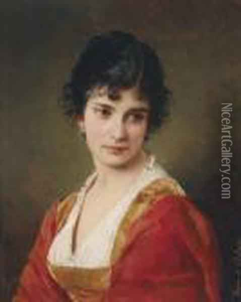 Portraitof A Young Woman Oil Painting - Eugene de Blaas