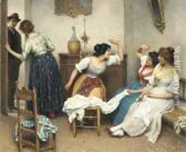 The New Suitor Oil Painting - Eugene de Blaas