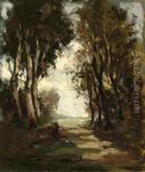 Woman On A Country Road Oil Painting - Theophile Emile Achille De Bock