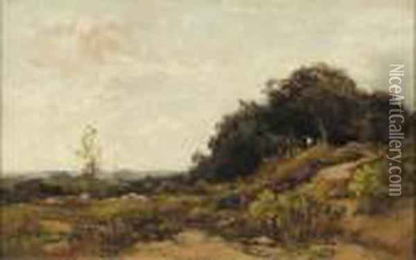 A Shepherd And Flock In The Dunes Oil Painting - Theophile Emile Achille De Bock