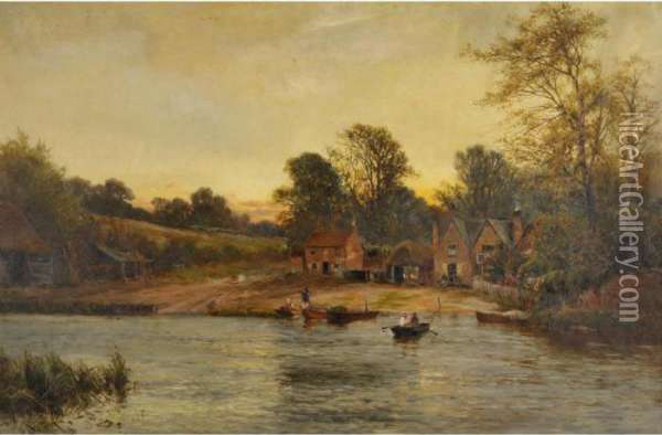 Moulsford Ferry Oil Painting - Alfred de Breanski