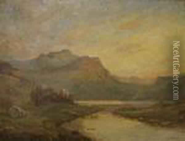 A View Of A Highland Loch Oil Painting - Alfred de Breanski